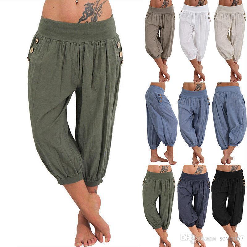 225dadabaf6e Acquista Taglie Forti Pantaloni Casual Moda Leggings Donna Cotone E Lino  Fitness Vita Alta Signora Palestra Sciolta Allenamento Da Allenamento  Fitness ...