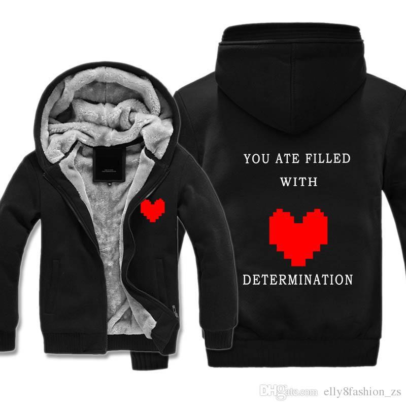 """undertale"" Costumes Thickness Hoodies Adult Velvet Baseball Sweatshirt Red heart men Winter Jacket with hats Coat M-5XL Big size"
