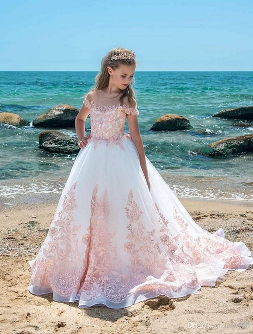 Elfenbein rosa Spitze Mädchen Pageant Kleider schiere Hals Cap Ärmel Applikationen Tüll bodenlangen Ballkleid Geburtstag Urlaub Kleider für Jugendliche 437