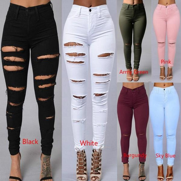 Neue Designer Denim Frauen Hohe Taille Zerrissene Jeans Skinny Schwarz Weiß  Leggings Elastische Bettler Hosen Hosen b977d6b3db