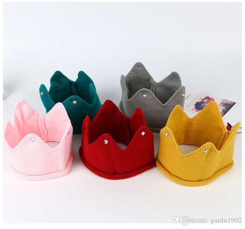Cute Boys Girls Hat New Autumn Winter Crown Shape Knit Caps Multi Color 5  8hs C R