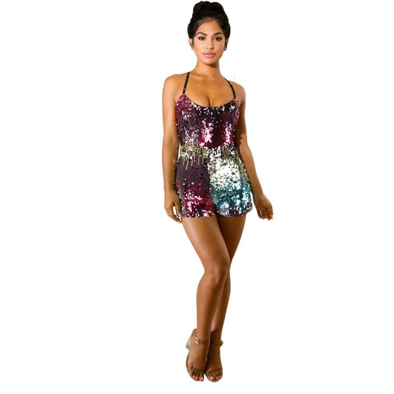 5f68439554da Women s Sexy Jumpsuit Colorful Beading Strap Zipper Skinny Bodysuit ...
