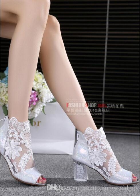 Zapatos exquisitos de las mujeres Gasa Peep Toe forma zapatos de boda Chunky tacón de cuero de la sandalia de verano bota con hermoso encaje tamaño EE.UU. 4-10