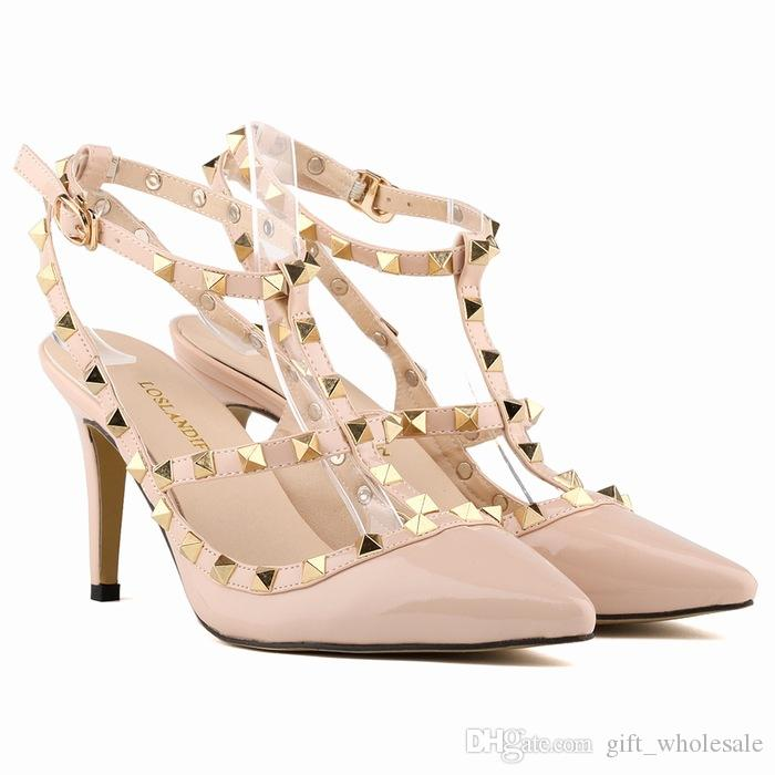 Mulheres sapatos de salto alto partido sapatos de moda rebites meninas sexy apontou toe sapatos fivela sapatos de plataforma sapatos de casamento preto branco rosa cor