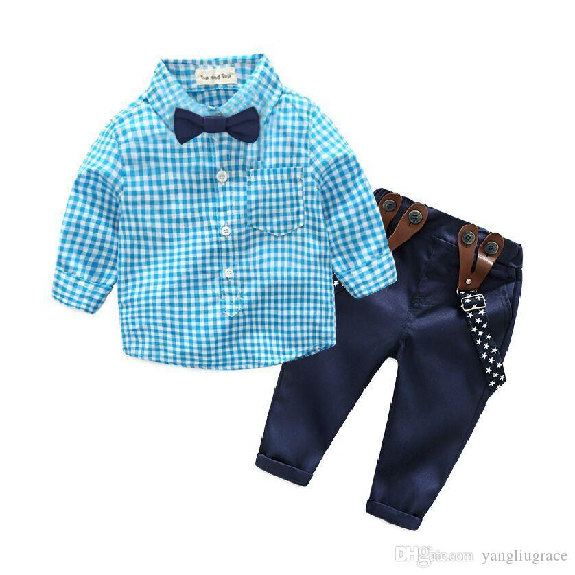 98c9f6baf 2019 Baby Boy Clothing Sets Shirt Suspend Trousers Bow Tie Sets ...