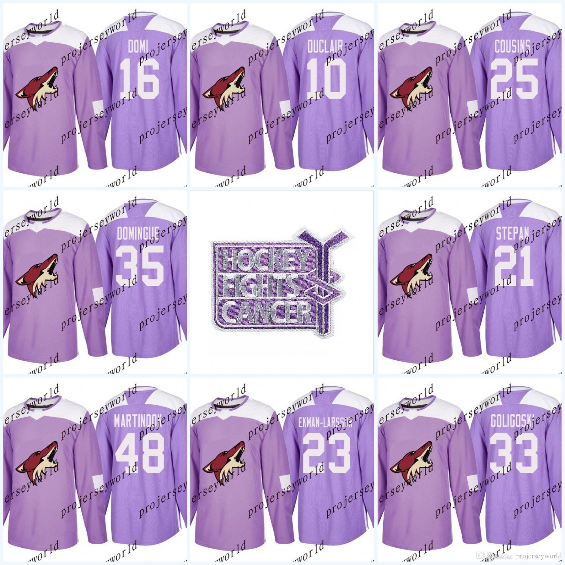 3292d857a6d Mens 16 Max Domi Purple Fights Cancer Practice Arizona Coyotes 19 ...