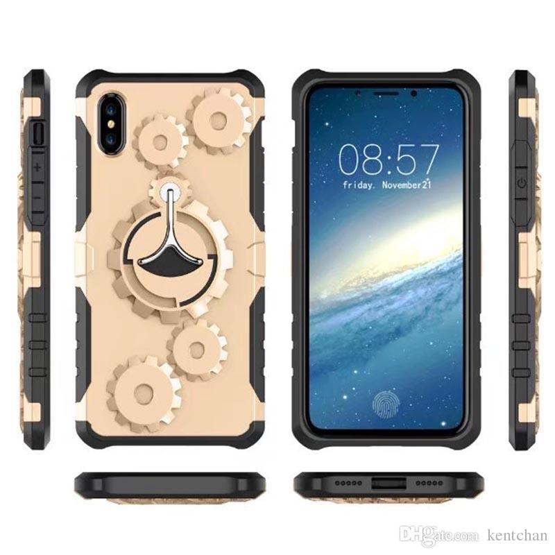 New gear mobile phone shell creative ring arm bracket For iPhone X Case ring buckle protective sleeve