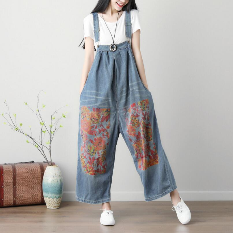 01e4f0de106 2019 Women Casual Loose Plus Size Denim Jumpsuits Overalls Pants Female  Distressed Floral Print Jeans Suspender Pants Trousers P528 From Sincha