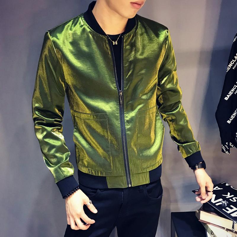 Acquista 2018 Moda Uomini Giacca Luminosa Slim Fit Autunno Cappotto Giacca  Bomber Uomo Hiphop Streetwear Vestito Casual Giacche A Vento Giacche Uomo  S1015 A ... 67175ca6342f