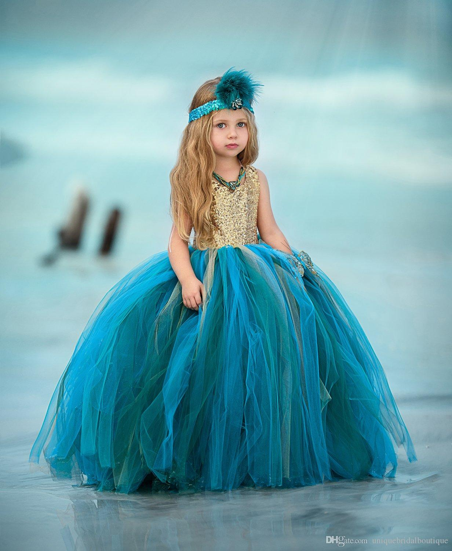 Голубоватые и зеленоватые платья для девочек-цветочниц 2019 года с бабочкой Золотые блестки Лиф Бальное платье Маленькие девочки Pageant Многоцветные