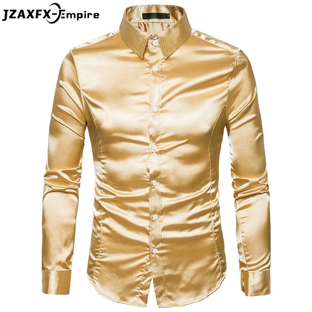 Compre 2018 Otoño Nuevos Hombres Color Oro Camisa De Manga Larga Club  Nocturno De Los Hombres Camisa Sólida Marca De Ropa Camisa Masculina A   22.64 Del ... e37fbb3800840