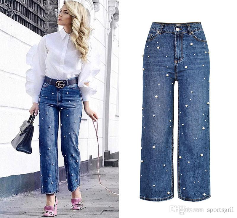 b9d555452 Pantalones vaqueros rectos de cintura alta mujer Pantalones de mezclilla  ocasionales de pierna ancha Perla Decorar Moda Chica azul Jean relajado