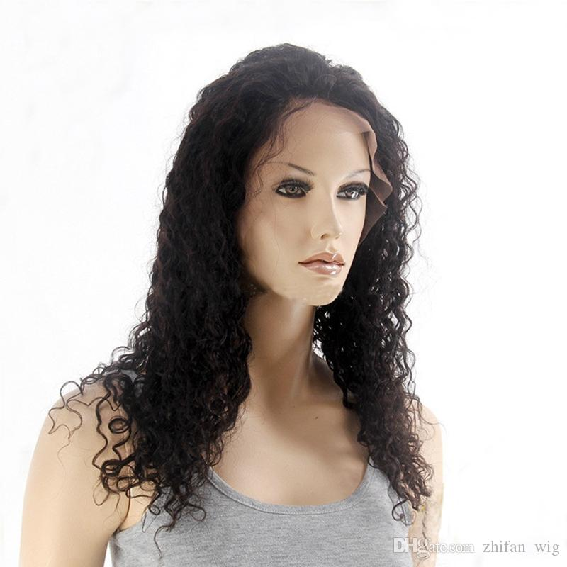 Z&F 100% Human Hair Full Lace Wigs For Black Women 16Inch Long Kinky Curly Lace Wigs