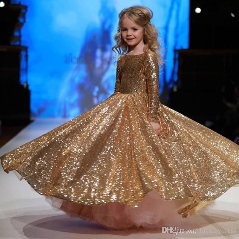 Sparkly Gold Girls Pageant Formal Prom Evening Dresses For Little Children  Long Sleeves Sequined Fabric Ball Gown With Pink Tulle Cheap Pretty Girl  Dresses ... dc1b2a3ee7d2