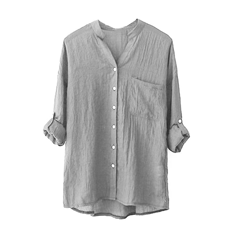 29c10db2ccea6 2019 Women Fashion Cotton Linen Long Sleeve Shirt Casual Solid Loose V Neck  Button Down Blouses Tops From Florence33