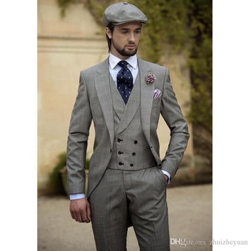 Grosshandel Drei Stuck Besten Manner Anzuge Vintage Grau Manner