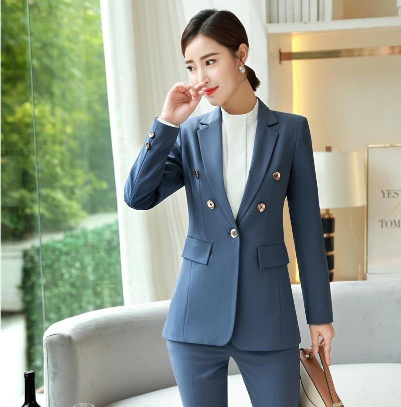 3dab86109 Nueva 2019 Moda Formal Mujer Blazers y chaquetas Chaqueta azul Señoras Ropa  de trabajo de negocios Ropa femenina Estilos OL