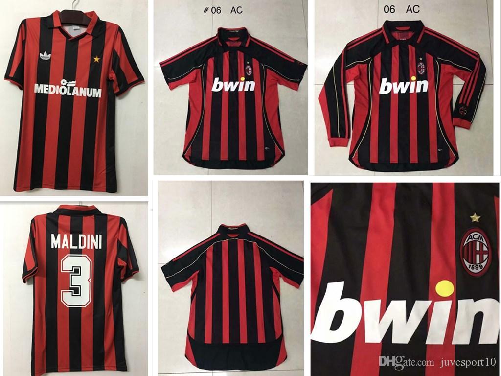06a118b49 Acquista 1991 1992 MALDINI # 3 Maglie Calcio Rosso Retrò Top Quality 2006  Versione Retro Maglia BARESI GULLIT 10 # Simone Uniformi Di Calcio Maglie  Da ...