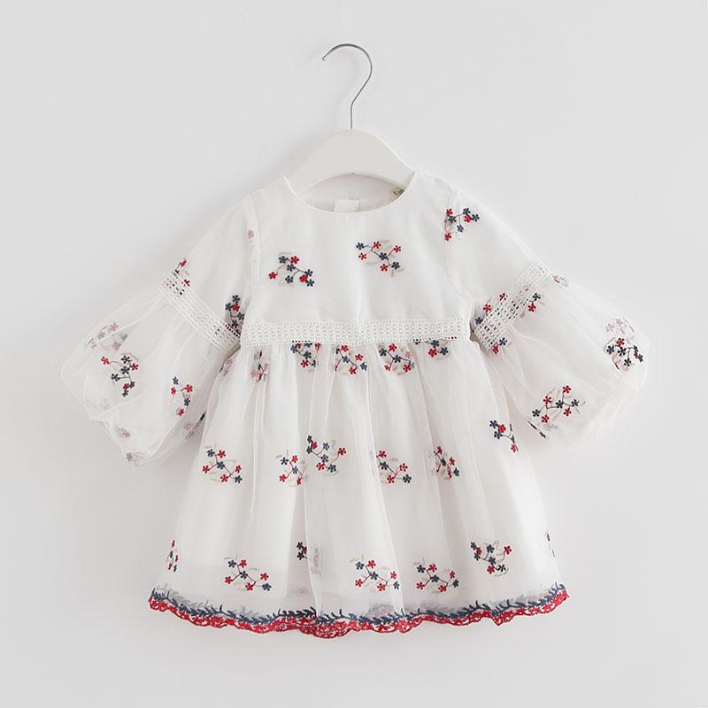 1a2468b133c5 2019 Baby Girls Dress Princess Girl Flower Embroidery Dress 2018 Autumn  Party Wedding Vestidos Infant Newborn Clothes JN535 From Windowplant, ...