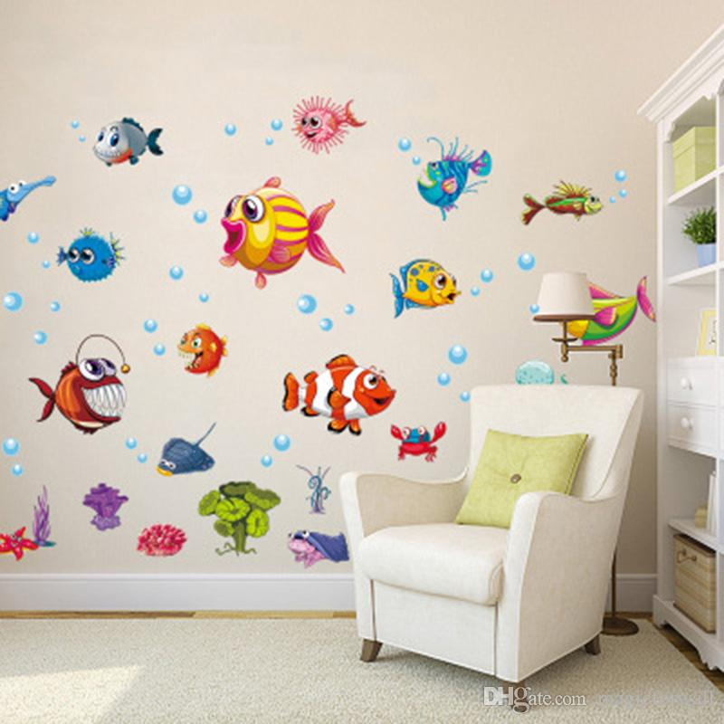 Cartoon Fish Sea Water Animal Wall Stickers Bathroom Wc Decor Wall