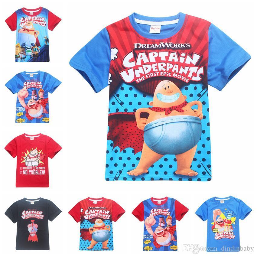 21f3120d4b8 Captain Underpants Summer Cotton Short Sleeve T Shirts Kids Clothes ...