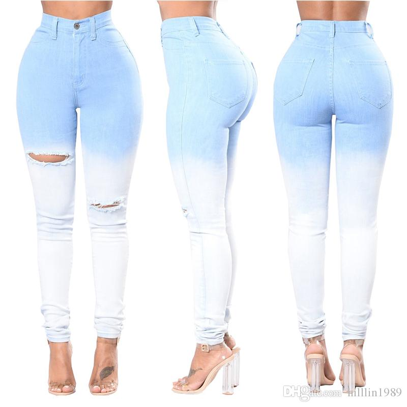 b911d12a0de 2019 Fashion Cut Up Destroyed Skinny Jeans Blue High Waisted Ripped Hole  Trousers Plus Size Pants For Women From Hilllin1989