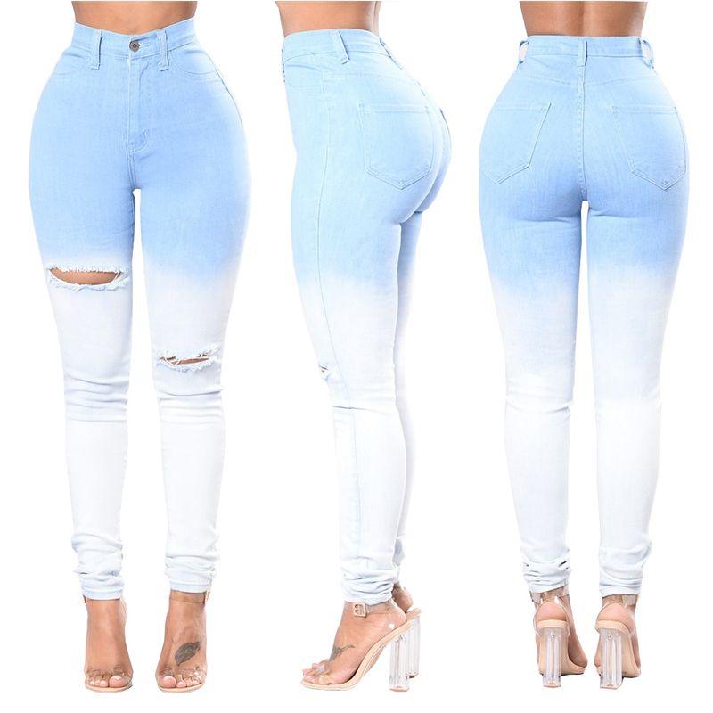 b3007a9d88e97 Acheter Fashion Cut Up Jeans Skinny Destroyed Blue Pantalon Taille Haute  Ripped Holes Plus Pantalons Pour Femmes De $14.07 Du Hilllin1989 |  DHgate.Com