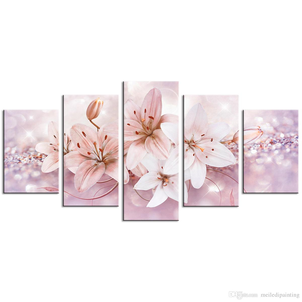 5 Pieces Lily Flower Wall Art Painting Starlight Background Picture Fashion Contemporary Wall Art For Home Decor With Wooden Framed