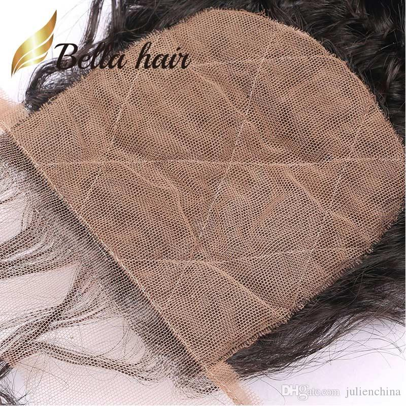 BELLA HAAR® Pre-Pupped Seide Basisschließung Brasilianisches Jungfrau Menschliches Haar 4 * 4 Spitze Natürliche Farbe 8A Hochwertige tiefe Welle