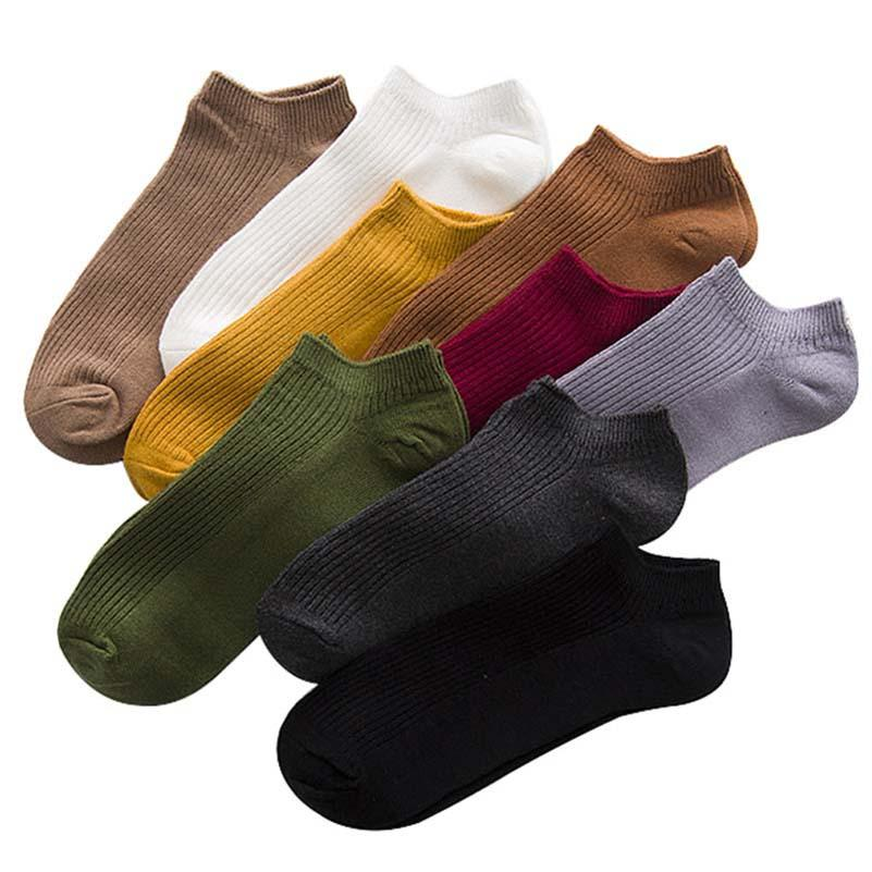Men's Socks Latest Collection Of 5 Pairs Mens Summer Ankle Socks Funny Japanese Style Trendy Colorful Solid Color Men Short Socks Casual Male Cotton Socks Meias