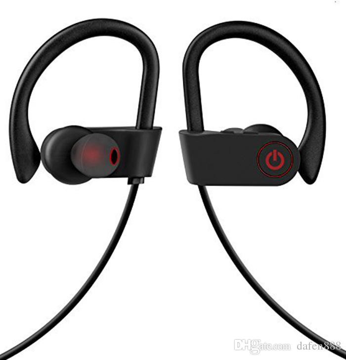 U8 Bluetooth HeadPhones Earhook In-Ear Noise Cancelling Wireless Stereo Sports Earbuds Headset with Mic for Iphone S7Android Smartphones.