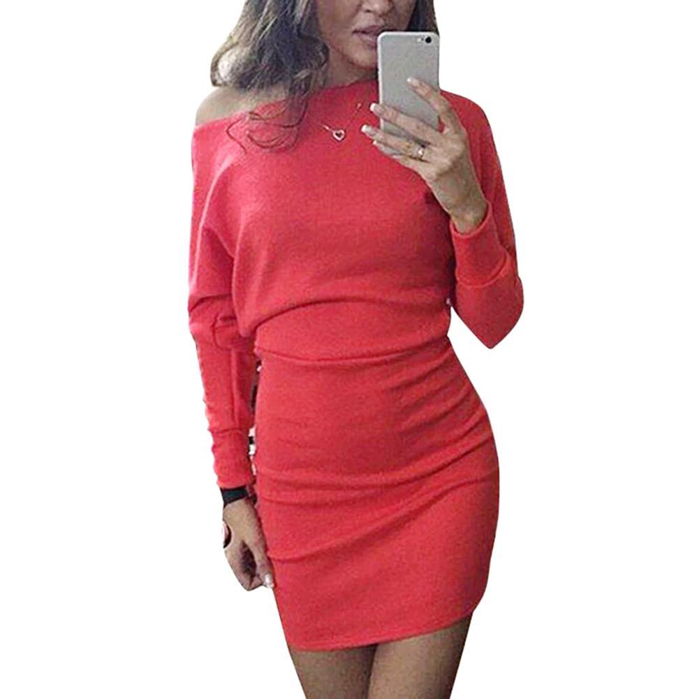 d6ceee9771ed 2019 5XL Plus Size Bodycon Dress Women Casual Slim Mini Dress Long Sleeve Off  The Shoulder Lady OL Office Work Wear Wrap Female From Edwiin04