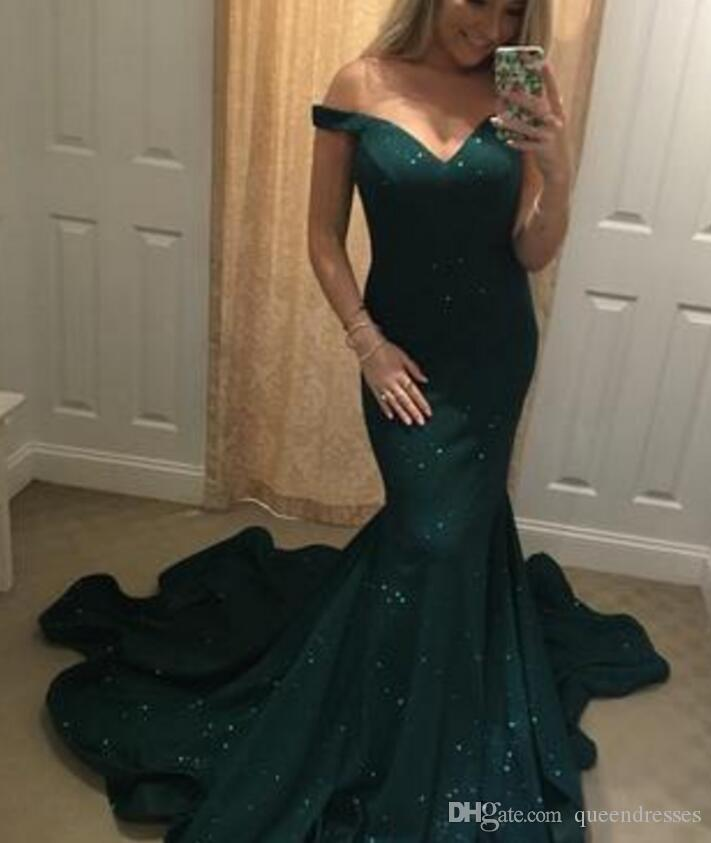 33f0d7a4afca Luxury Dark Green Long Prom Dresses Off Shoulder Sweetheart Cap Sleeve  Mermaid Evening Gowns Sweep Train Special Occasion Party Prom Dresses Short  Tight ...