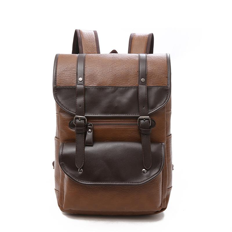 e577729a71 Retro Leather Laptop Backpack 2018 Men Big Capacity Leisure Travel ...