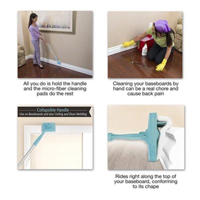 Baseboard Buddy Cleaning Mop Blu Plastica Acciaio Bianco Mop Simply Walk Glide Allungabile Microfiber Dust Brush Kids Bath Articoli
