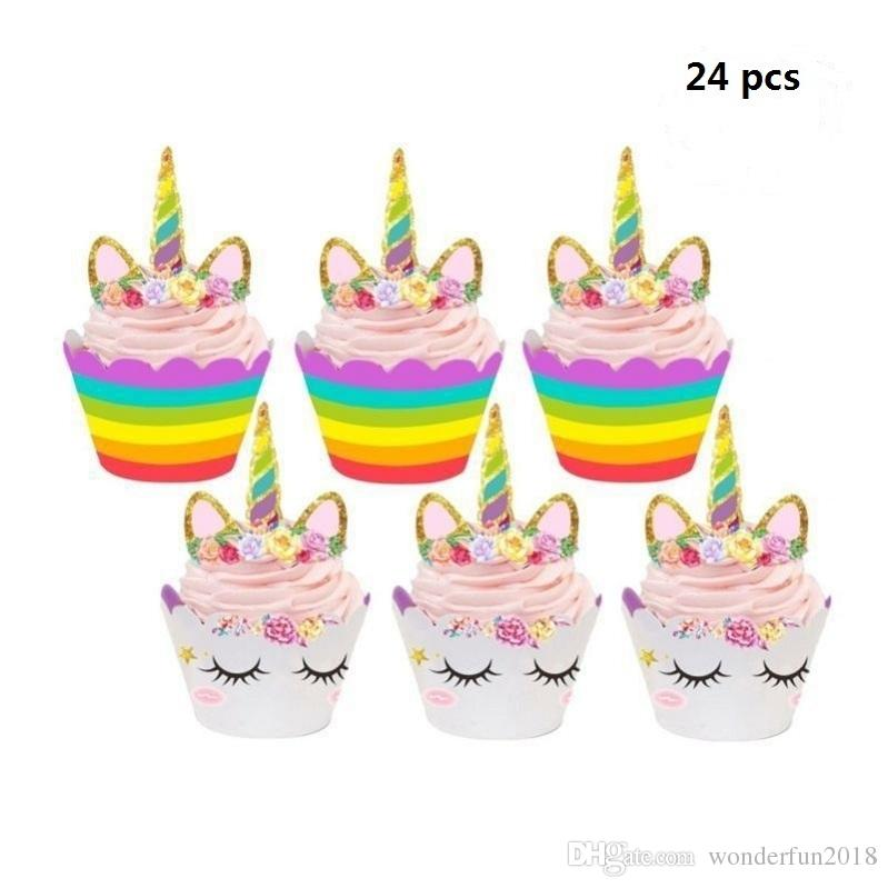 2019 Cute Birthday Decoration Unicorn Cupcake Wrappers +Cake Topper Party  Decoration For Baby Shower Party Cake Decor From Wonderfun2018 22fa0bb5e4c7