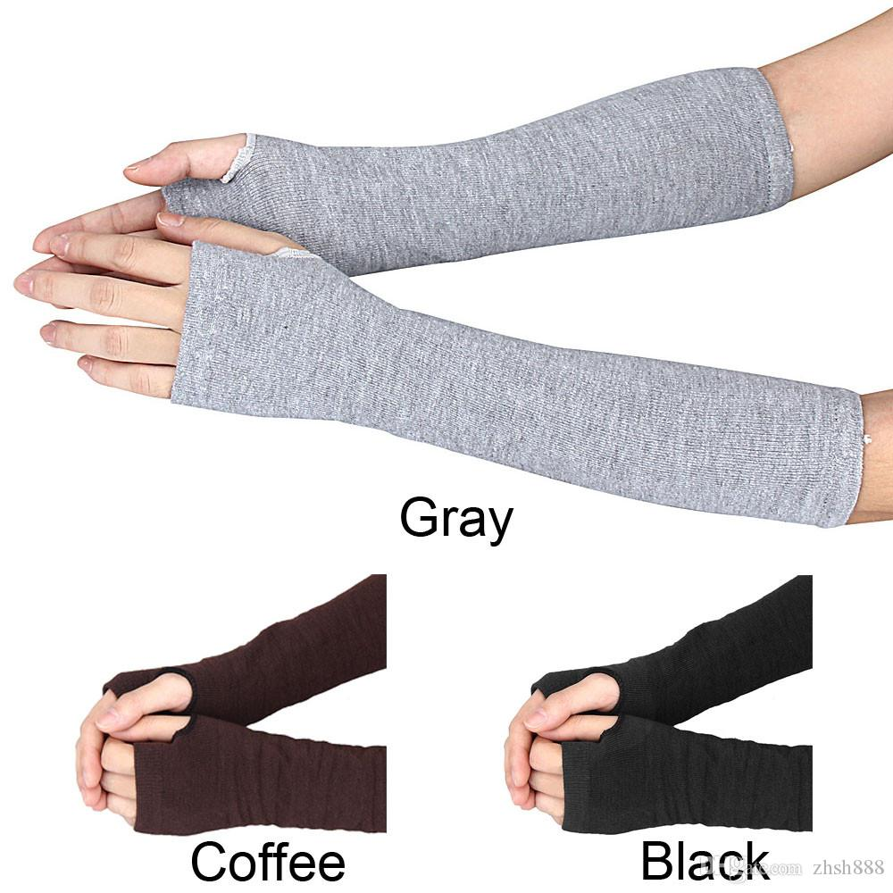 Warm knit wool fingerless gloves ladies winter knitted half finger cuff gloves women winter long mittens unisex 2018 New