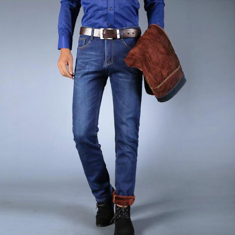 769b8e71b4 Compre Jeans De Invierno De Moda Clásica Para Los Hombres Color Azul  Sencillo De Terciopelo De Algodón Mantener Los Pantalones Vaqueros  Calientes Hombres ...