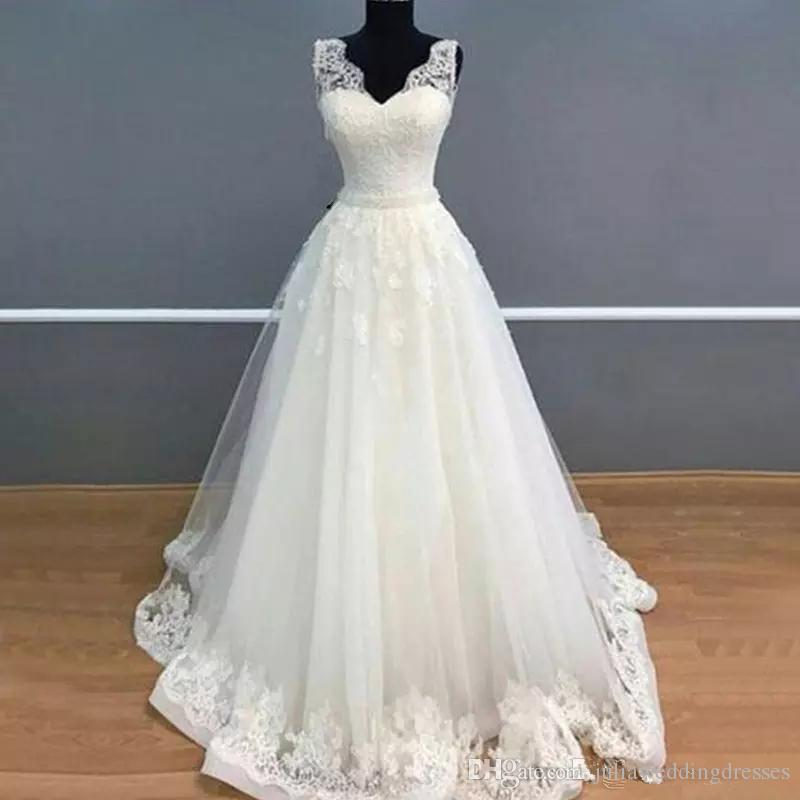1585764b55c Discount Hot Sale 2018 Cheap Simple Wedding Dresses Sweetheart A Line Tulle  Appliques Lace Wedding Party Dress Bridal Gowns QC1082 Prices Of Wedding  Dresses ...
