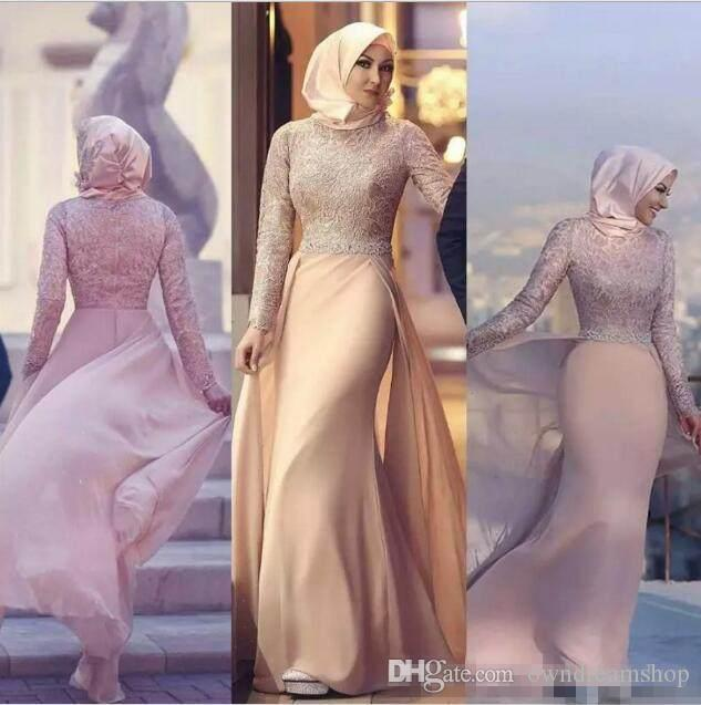 2018 Newest High Neck Muslim Evening Dresses Long Sleeves Lace Chiffon Floor Length Pink Champagne Mermaid Evening Gowns Prom Dresses