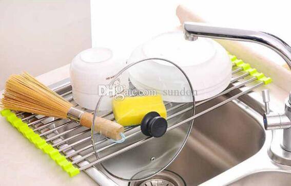 Kitchen Sink Dish Rack Drainer 37 x 23CM Stainless Steel Silicone Non-slip Folding Drying Rack Holder For Bowl Fruit Vegetable Sticks