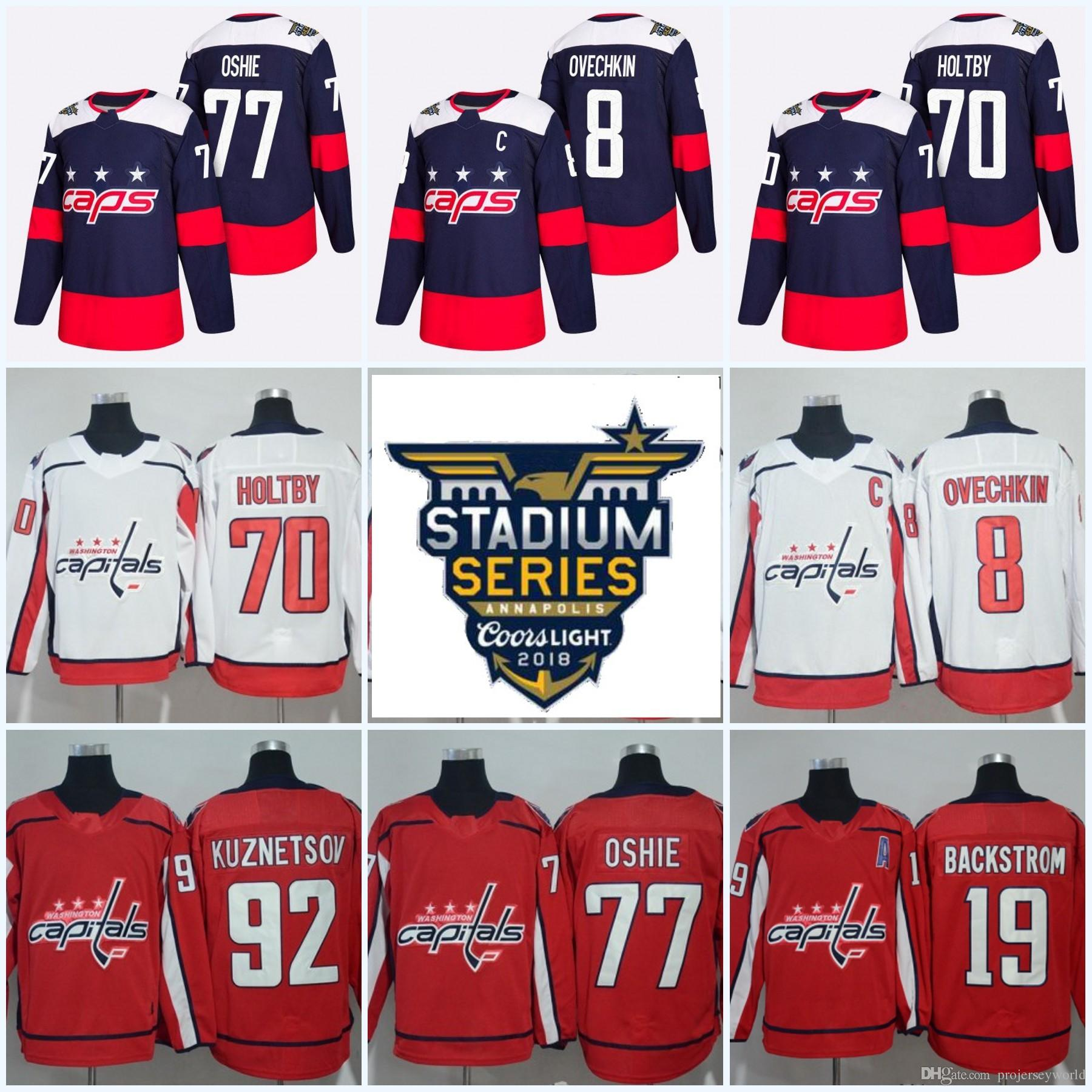 ca3fe349a22 2019 92 Evgeny Kuznetsov 2018 Stadium Series Washington Capitals 19 Nicklas  Backstrom 8 Alex Ovechkin 70 Braden Holtby T.J. Oshie Hockey Jersey From ...