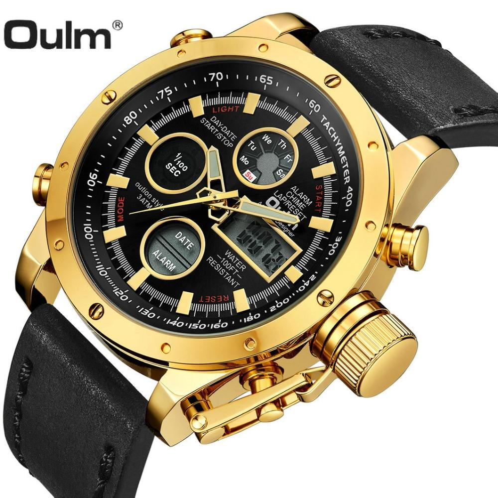 Compre OULM Fashion Sport Watch Hombres Golden Dual Time Reloj Analógico  Digital Alarma Calendario Pantalla LED De Cuero Impermeable Reloj De  Pulsera ... 56f92716ef38