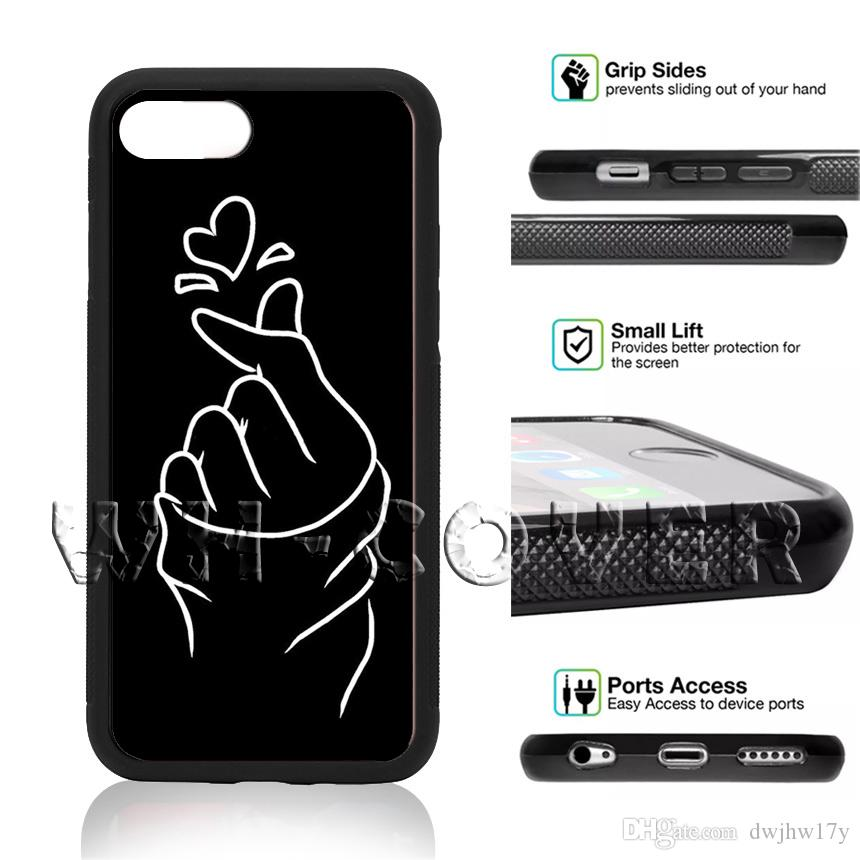 4b39fa04f91 Fundas Móviles BTS Banda Kpop Coreana Dedo DE Corazón Bangtan BoyS South  JungKook Jimin Jung Kook Funda Para IPhone Samsung IX 6/7/8 XR MAX Plus SE  ...