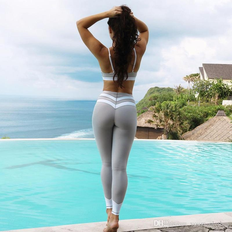 Compre Heart Yoga Pants Mujeres Fitness Sexy Hips Push Up Leggings Mesh  Sport Running Pantalones Ajustados Mujeres Fitness Slim Gym Leggings Negro Gris  Sexy ... 010d37fc0861