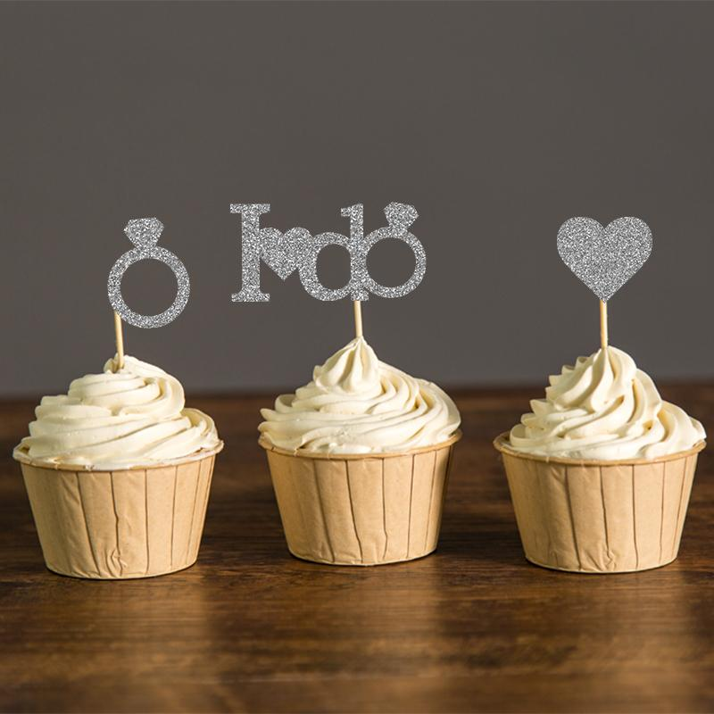 Gold or Silver Glitter I DO Wedding Cupcake Toppers Bridal Shower Party Picks Engagement Party Favors Cake Decoration Supplies