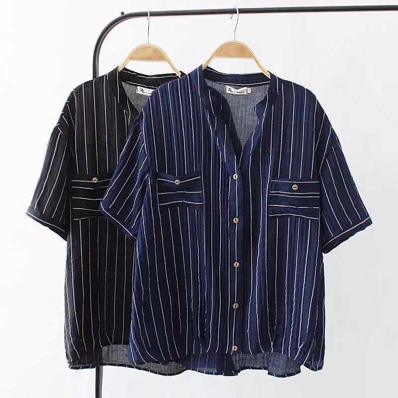 c7b687cbb1 2019 Plus Size Pockets Button Short Sleeve Linen Blouses Women 2018 Summer  Dark Blue   Black Striped Shirt Casual V Neck Ladies Tops From Edward03