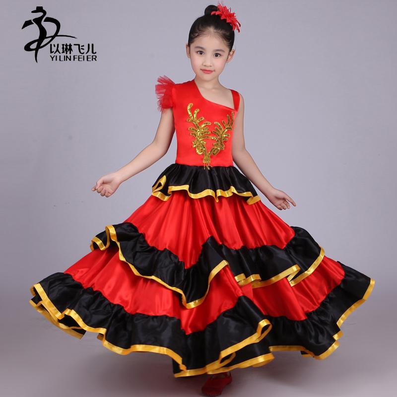 25e5a81ba Falda flamenca para niños 360/540/720 Disfraz de bailarina de flamenco  española Senorita / Danza española para niña