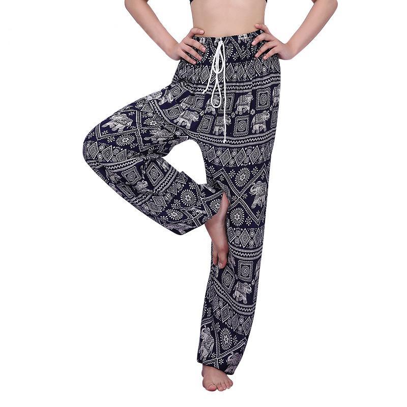 63cca1de14 Compre Pantalones De Harén De Verano De Las Mujeres Sueltan Boho Elefante  Impreso Pantalones De Camuflaje De Encaje Bohemio Pantalones Pantalones  Pantalon ...