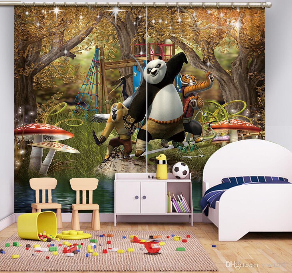 Cortinas de la ventana del apagón para la habitación de los niños Decoración animal 3D Cortinas para la sala de estar o la cortina de la pintura al óleo del dormitorio